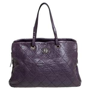 Chanel Purple Quilted Glazed Leather Large On the Road Tote Bag
