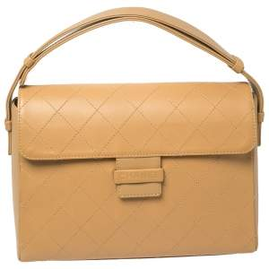 Chanel Tan Quilted Leather Vintage Flap Bag
