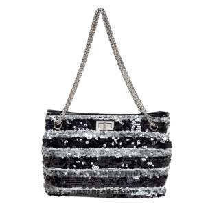 Chanel Black/Grey Striped Sequins and Patent Leather Small Reissue Tote