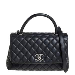 Chanel Black Caviar Leather Medium Coco Top Handle Bag