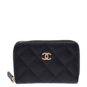 Chanel Black Caviar Leather O-Coin Purse