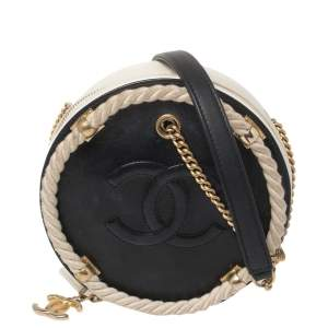 Chanel Navy Blue/White Quilted Leather Small En Vogue Round Bag