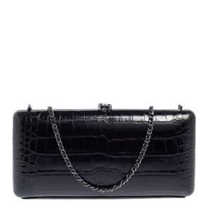 Chanel Black Alligator Chain Clutch