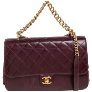 Chanel Maroon Quilted Glazed Leather Straight Line Flap Bag
