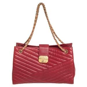 Chanel Red/Tan Chevron Lambskin Leather Gabrielle Tote