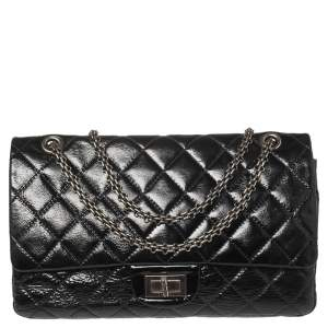 Chanel Black Quilted Patent Leather Jumbo Reissue 2.55 Classic 227 Flap Bag