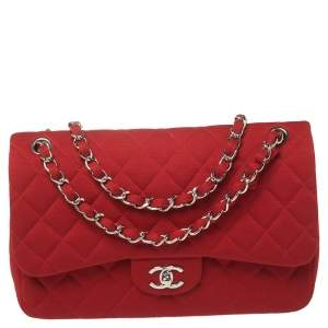 Chanel Red Quilted Jersey Jumbo Classic Double Flap Bag