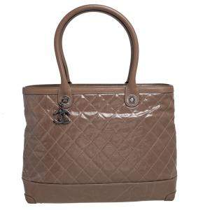 Chanel Brown Striated Quilted Coated Canvas and Leather Rue Cambon Tote