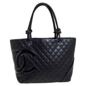 حقيبة يد توتس شانيل لينه كامبون جلد مبطن سوداء كبيرة