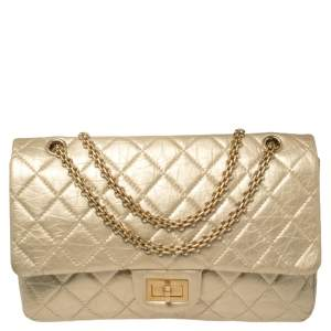 Chanel Pale Gold Calfskin Quilted Leather Reissue 2.55 Classic 227 Flap Bag