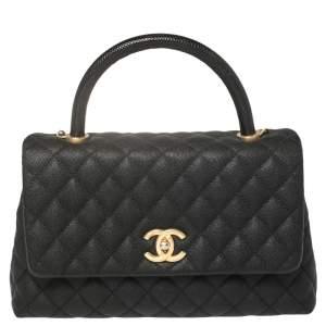 Chanel Black Caviar Leather and Lizard Medium Coco Top Handle Bag