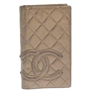 Chanel Bronze Quilted Leather Cambon Ligne Bifold Wallet