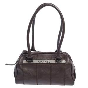 Chanel Dark Brown Square Quilt Caviar Leather LAX Bowler Bag