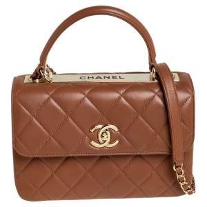 Chanel Beige Quilted Leather Small Trendy CC Flap Top Handle Bag