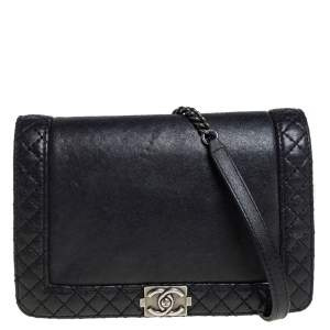 Chanel Black Leather Small Reverso Boy Bag