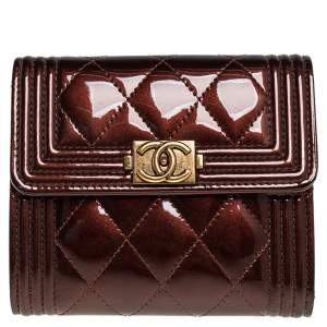 Chanel Brown Quilted Patent Leather Boy Wallet