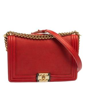 Chanel Red Cube Embossed Leather New Medium Boy Flap Bag