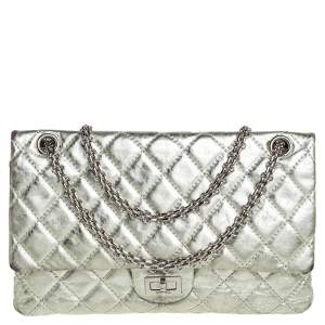 Chanel Silver Quilted Leather Reissue 2.55 Classic 226 Flap Bag
