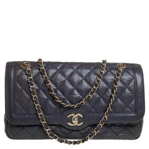 Chanel Blue Quilted Leather CC Single Flap Bag