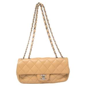Chanel Tan Quilted Leather East West Flap Bag