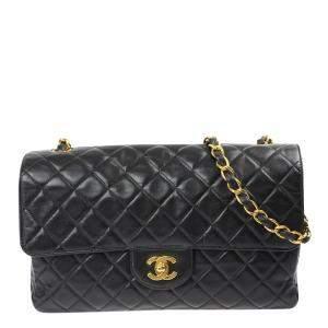 Chanel Black Lambskin Leather Single Flap Bag