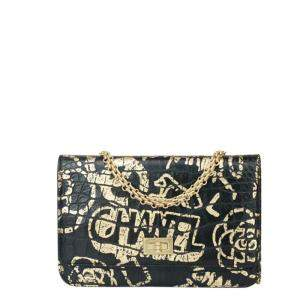 Chanel Black/Gold Leather Reissue Graffiti Mini Flap Wallet on Chain Bag