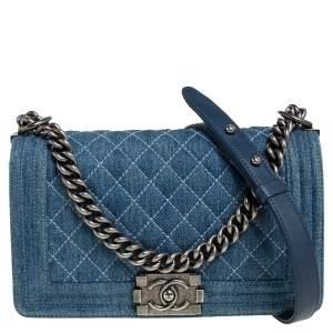 Chanel Blue Quilted Denim Medium Boy Flap Bag