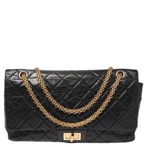 Chanel Black Quilted Crinkled Leather 227 Classic Reissue 2.55 Flap Bag