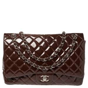 Chanel Maroon Quilted Patent Leather Maxi Classic Single Flap Bag