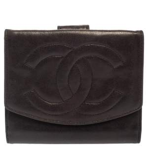 Chanel Dark Brown Leather Timeless CC French Wallet