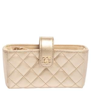 Chanel Gold Quilted Lambskin Leather CC Phone Pouch