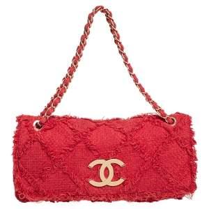 Chanel Red Diamond Stitch Tweed Maxi Nature Flap Bag