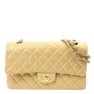 Chanel Beige Lambskin Leather Single Flap Bag