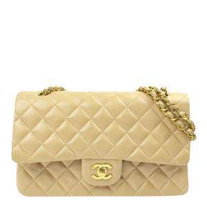 Chanel Beige Leather Classic Double Flap Bag