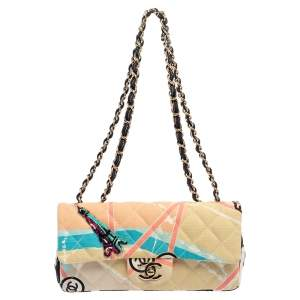 Chanel Multicolor Eiffel Tower Print Quilted Canvas Small Flap Bag