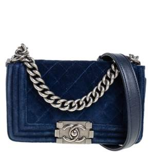 Chanel Blue Quilted Velvet and Leather Small Boy Flap Bag