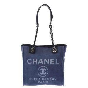 Chanel Blue Canvas Deauville Tote PM Bag