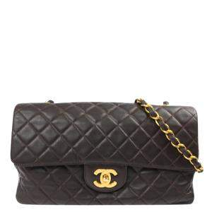 Chanel Brown Quilted Lambskin Leather Single Flap Bag