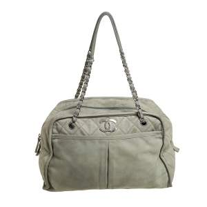 Chanel Pale Green Quilted Nubuck Leather CC Pocket Satchel