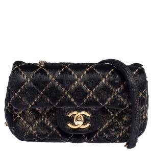 Chanel Black/Gold Quilted Calf Hair Extra Mini Classic Single Flap Bag