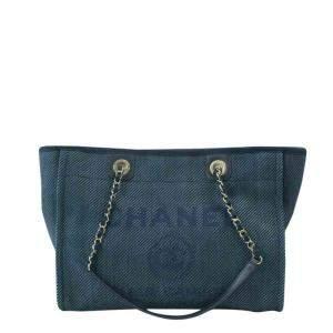 Chanel Blue Canvas Deauville Tote Bag