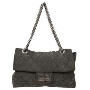 Chanel Grey Quilted Denim XXL Reissue 2.55 Flap Bag