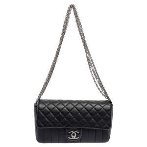 Chanel Black Quilted Leather Medium Single Flap Bag