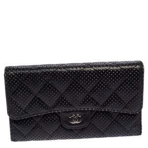 Chanel Black Quilted Perforated Leather Continental Wallet