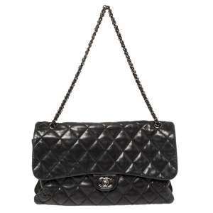 Chanel Black Quilted Lambskin Leather Maxi 3 Accordion Flap Bag