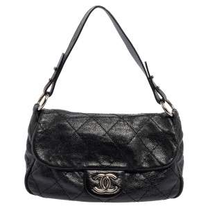 Chanel Black Quilted Leather Small On the Road Flap Bag
