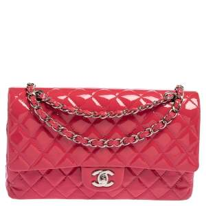Chanel Pink Quilted Patent Leather Medium Classic Double Flap Bag