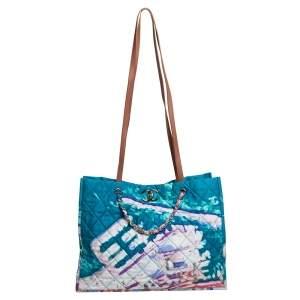 حقيبة يد توتس شانيل جلد غرافيتي ألوان مائية وساتان