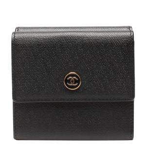 Chanel Black Leather Coco Button Wallet