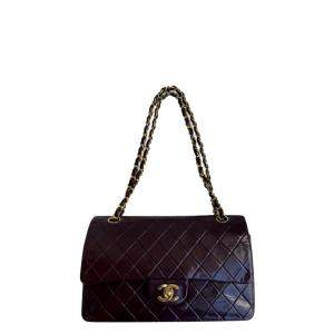 Chanel Brown Lambskin Leather CC Flap Bag